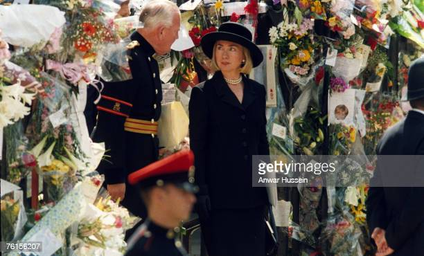 Guests attending Diana Princess of Wales's funeral at Westminster Abbey on September 6 1997 include Hillary Clinton