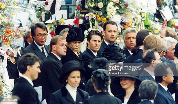 Guests attending Diana Princess of Wales's funeral at Westminster Abbey on September 6 1997 include Tom Hanks Tom Cruise and Nicole Kidman