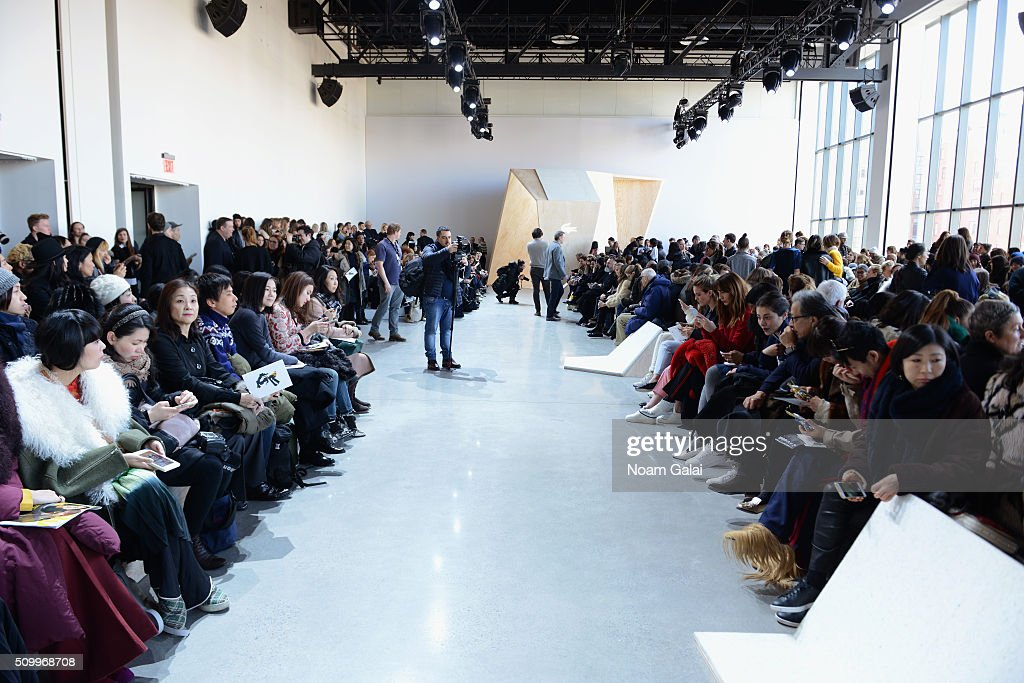Guests await the Lacoste Fall 2016 fashion show during New York Fashion Week at Spring Studios on February 13, 2016 in New York City.