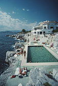 Guests by the pool at the Hotel du Cap EdenRoc Antibes France August 1976