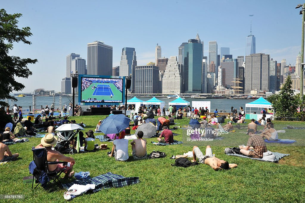 Guests celebrate #EveryDayMoments at the US Open Viewing Party with American Express at Brooklyn Bridge Park on September 6 2014 in New York City