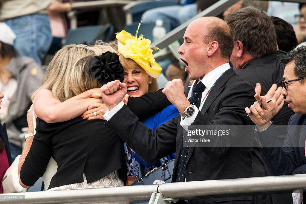 Guests celebrate Tommy Berry & Chautauqua's victory at The Chairman's Sprint Prize race at Sha Tin Racecourse on May 1, 2016 in, Hong Kong.