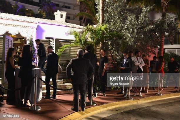 Guests check in at DuJour's Jason Binn And WellNEST Celebrate Miami Beach's Art Basel KickOff at The Confidante on December 6 2017 in Miami Beach...