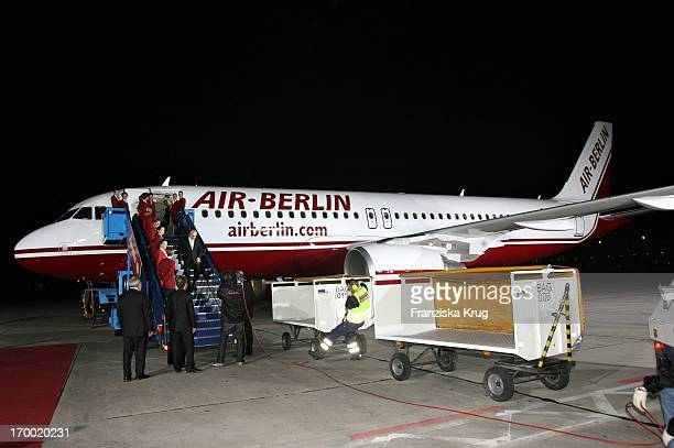 Guests Climb Out Of The Airbus A 320 When 'Fly Into The Sunshine' Air Berlin media meeting in Hangar 2 In the Event Center Tempelhof Airport in Berlin