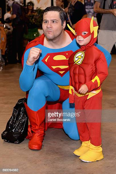 Guests cosplay as Superman and The Flash during Wizard World Comic Con Chicago 2016 Day 4 at Donald E Stephens Convention Center on August 21 2016 in...