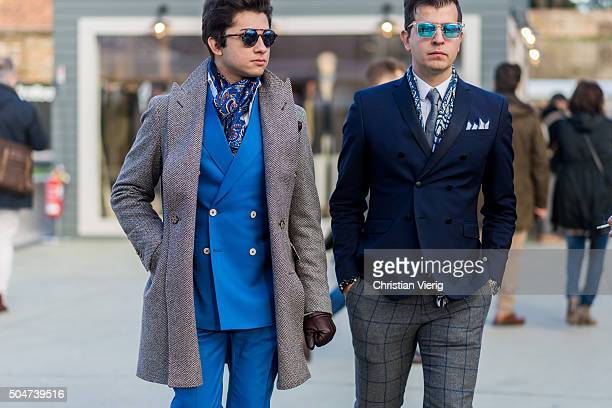 Guests during Pitti Uomo 89 on January 12 in Florence Italy