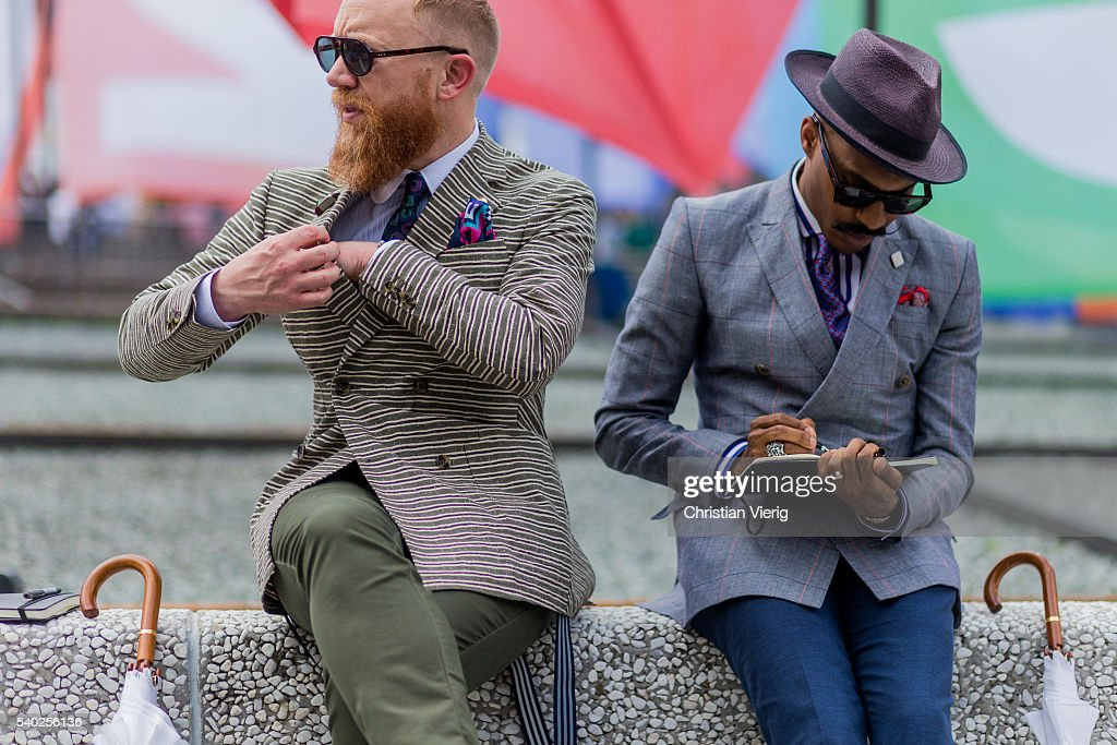 Guests during Pitti Uomo 90 on June 14, 2016, in Florence, Italy