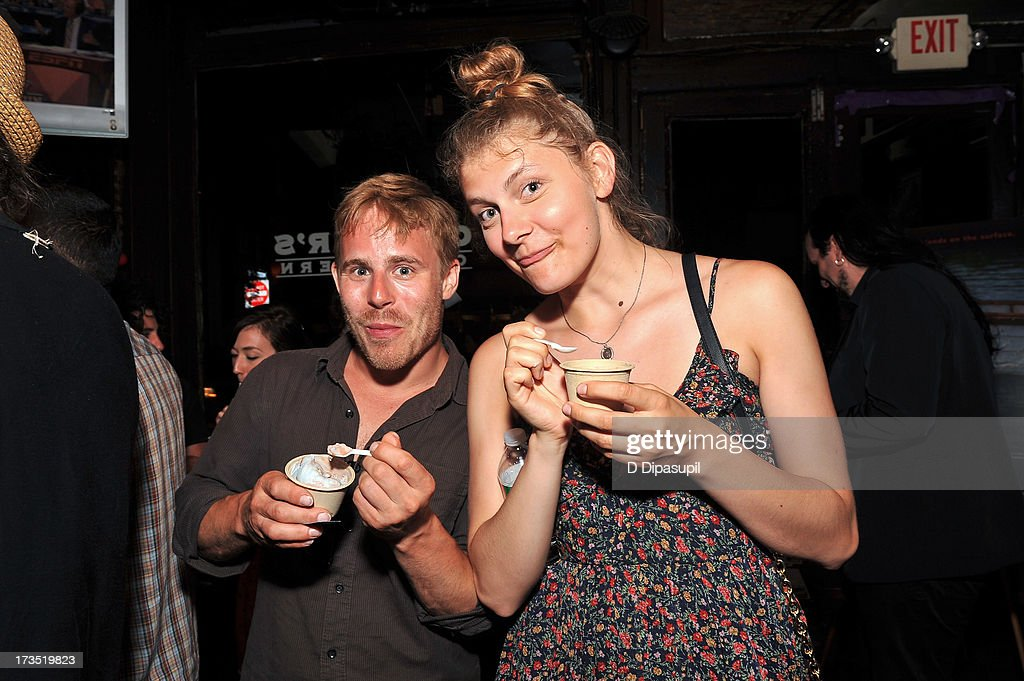 Guests eat Ample Hills Creamery ice cream during the Glass Eye Pix 'Beneath' Premiere Event - After Party at Oliver's City Tavern on July 15, 2013 in New York City.