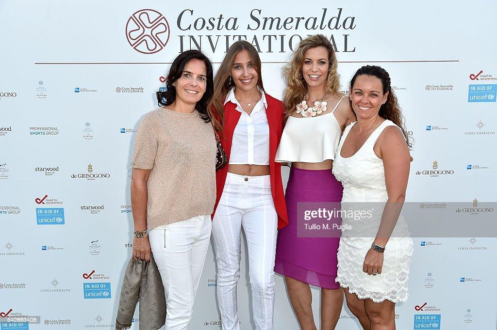 Guests, Emma Cabrera Bello and Esther Copado attend the Welcome Dinner prior to The Costa Smeralda Invitational golf tournament at Pevero Golf Club - Costa Smeralda on June 24, 2016 in Olbia, Italy.