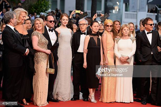 Guests Emma StoneWoody AllenSoonYi Previn and Parker Posey attend the Premiere of 'Irrational Man' during the 68th annual Cannes Film Festival on May...