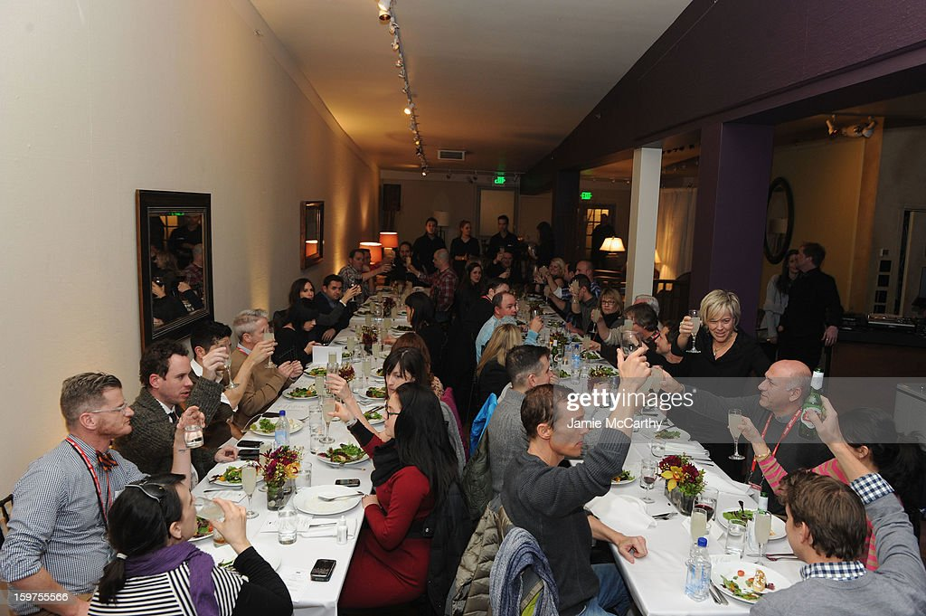Guests enjoy the Grey Goose Blue Door 'Mud' Dinner on January 19, 2013 in Park City, Utah.