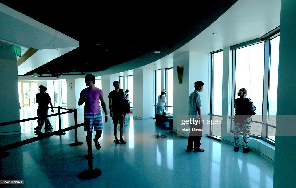 Guests enjoy the observation deck during the OUE Skyspace LA grand opening block party at OUE Skyspace LA on June 25, 2016 in Los Angeles, California.