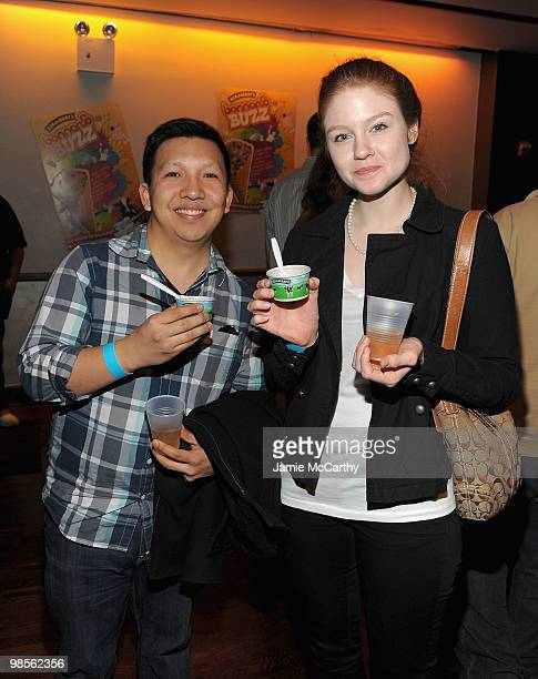 Guests enjoying Ben Jerry's Bonnaroo Buzz Ice Cream at the Ben Jerry's and Bonnaroo new flavor party at Bowery Ballroom on April 19 2010 in New York...