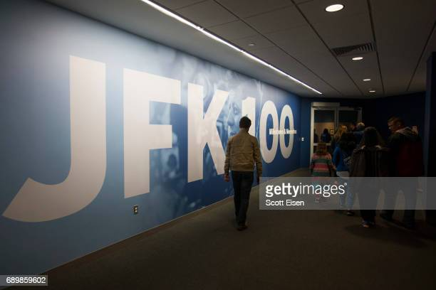 d2d893b45cf Guests enter the JFK 100 Milestones Mementos Exhibit at the John F Kennedy  Presidential Library on