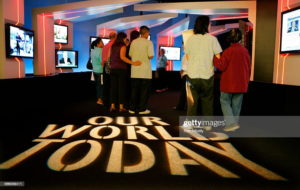 Guests enter the multimedia room where television sets tuned to different stations reporting on todays events The Museum of Tolerance recently...