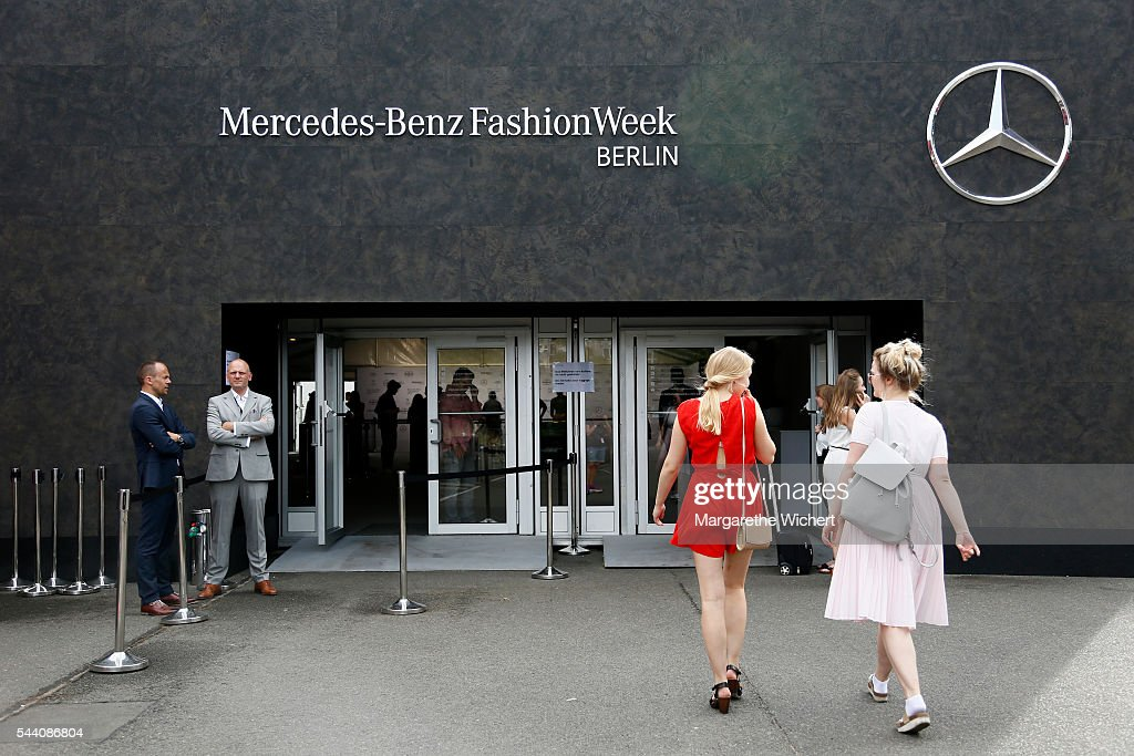Guests enter the venue during the Mercedes-Benz Fashion Week Berlin Spring/Summer 2017 at Erika Hess Eisstadion on June 28, 2016 in Berlin, Germany.