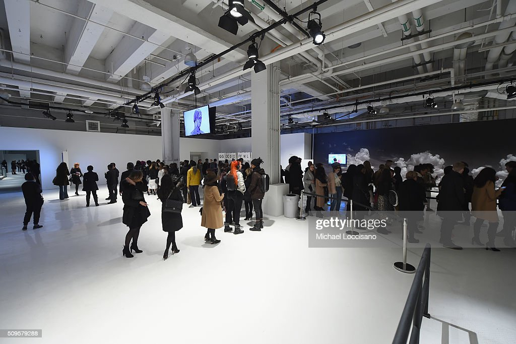 Guests gather inside kylight at Clarkson sq for Fall 2016 New York Fashion Week at the Skylight at Clarkson sq on February 11, 2016 in New York City.