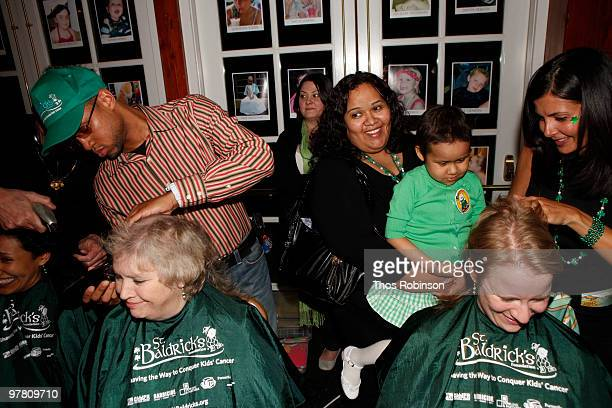 Guests get their heads shaved while attending St Baldrick's Head Shaving Fundraiser for Childhood Cancer Research at the Boathouse on March 17 2010...