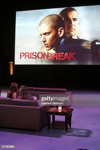 Guests hang out before watching an episode at the 'Prison Break' end of season screening party on the Fox Studios lot on April 27 2006 in Los Angeles...