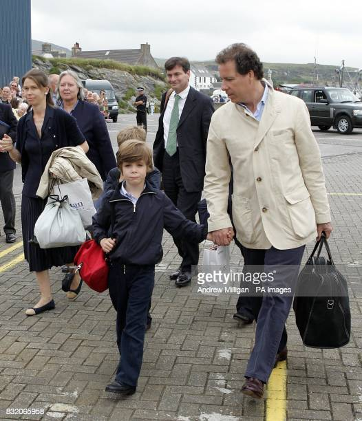 Guests includeing Lady Sarah Chatto Daniel Chatto and Viscount Linley arrive to embark on the Hebridean Princess at Port Ellen on Islay for a...