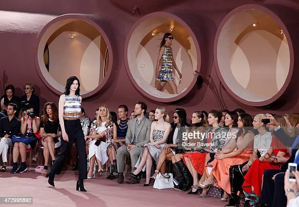Guests including Dakota Fanning Zoe Kravitz Teresa Palmer Emma Ferrer Aymeline Valade Elizabeth Von Guttman and Alexia Niedzielski attend the Dior...