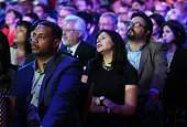 Guests including former US Rep Steven Horsford attend a presidential debate sponsored by CNN and Facebook at Wynn Las Vegas on October 13 2015 in Las...