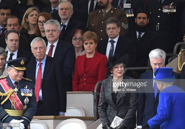Guests including Jeremy Corbyn Nicola Sturgeon Queen Elizabeth II Teresa May and Michael Fallon attend the dedication service of The Iraq and...