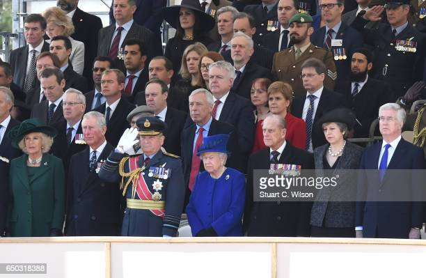 Guests including Jeremy Corbyn Princess Anne the Princess Royal Camilla duchess of Cornwall Prince Charles Prince of Wales Queen Elizabeth II Prince...