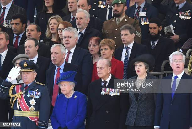 Guests including Jeremy Corbyn Queen Elizabeth II Prince Phillip Duke of Edinburgh Teresa May and Michael Fallon attend the dedication service of The...