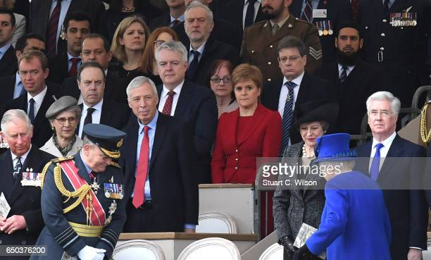 Guests including Prince Charles Prince of Wales Jeremy Corbyn Nicola Sturgeon Queen Elizabeth II Teresa May and Michael Fallon attend the dedication...