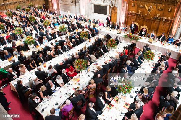 Guests including Princess Anne Princess Royal Andrew Parmley Lord Mayor of London Queen Letizia of Spain and Vice Admiral Sir Tim Laurence listen as...