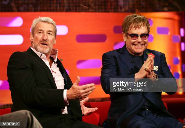Guests Jeremy Paxman and Sir Elton John during filming of The Graham Norton Show at The London Studios in south London