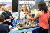 Guests learn about the Basenji breed at the American Kennel Club 'Meet The Breeds' Event at Jacob Javitz Center on September 28 2013 in New York City