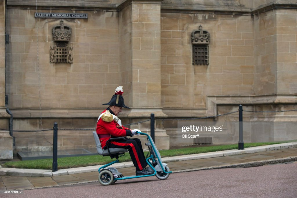 Guests leave after attending the Easter Matins at St George's Chapel in Windsor Castle on April 20, 2014 in Windsor, England. Her Majesty Queen Elizabeth II will celebrate her 88th birthday tomorrow which will be marked with gun salutes in central London at midday.