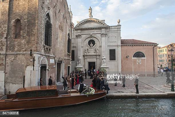 Guests leave the church after the wedding of Bastian Schweinsteiger and Ana Ivanovic on July 13 2016 in Venice Italy