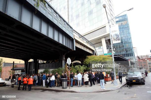 Guests line up outside of Aperitivo hosted by Scott Conant at The Standard High Line on October 13 2017 in New York City