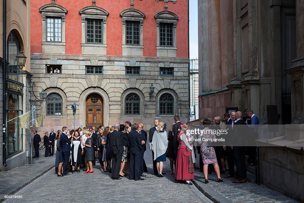 Guests lineup to attend a ceremony at Storkyrkan in connection with the opening session of the Swedish parliament on September 13, 2016 in Stockholm, Sweden.
