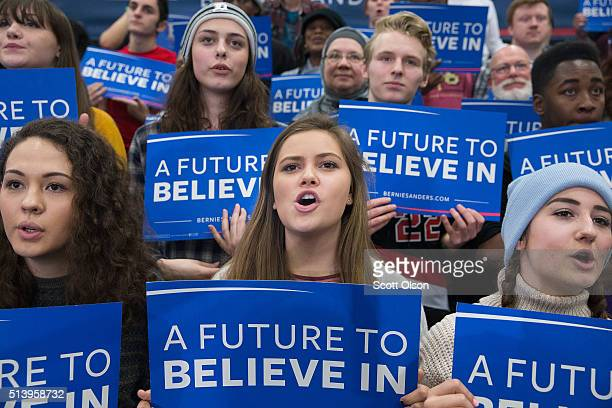 Guests listen as Democratic presidential candidate Senator Bernie Sanders speaks during a rally at Macomb Community College on March 5 2016 in Warren...
