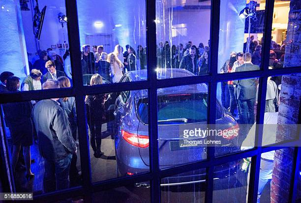 Guests look at the new Maserati Levante at 'Klassikstadt' on March 21 2016 in Frankfurt am Main Germany