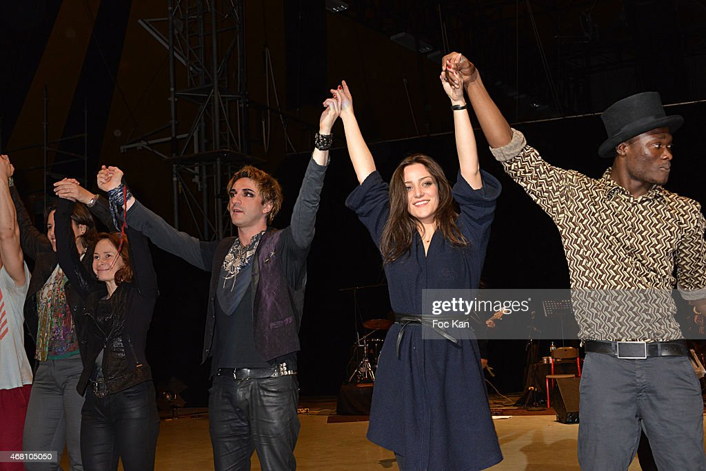 Guests, Mikelangelo Loconte, Lea Castel and young artist Abdoulaye Keita attend the Concert Cirque In Benefit Of 'Cameleon' Abused Children Care Association At Circus School ENACR Of Rosny Sous Bois on March 29, 2015 in Paris, France.