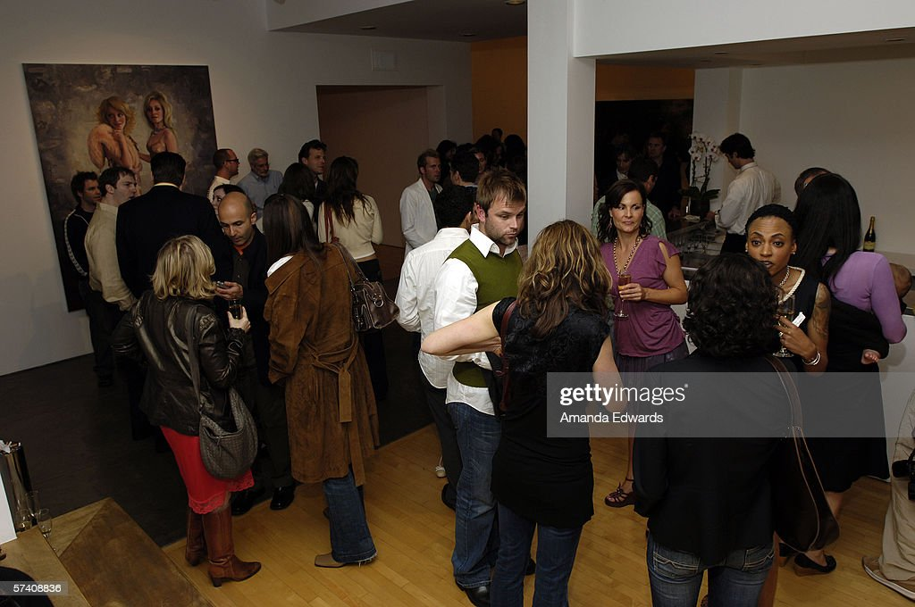 Guests mingle at the opening of artist Delia Brown's 'Double Self-Portraits And Step & Repeat' exhibition at the Margo Leavin Gallery on April 20, 2006 in West Hollywood, California.