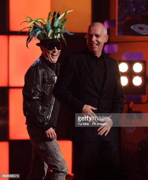 Guests Neil Tennant and Chris Lowe of The Pet Shop Boys during a recording of The Graham Norton Show at the London Studios in south London