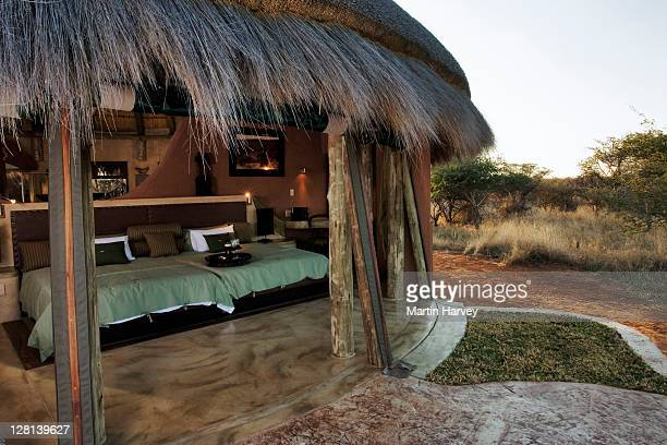 Guests of The Bush Suite in Okonjima Private Game Reserve in Namibia, enjoy luxury in complete harmony with nature. Canvas panelling may be rolled up, inviting guests to enjoy the ëbushveldí vista in complete privacy. (PR: Property Released)