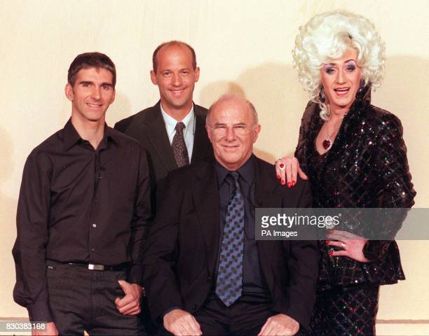Guests on Clive James' chat show 'Monday Night Clive' pose with their host before recording From left Racing driver Damon Hill Anthony Edwards star...