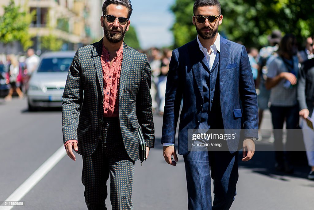 Guests outside Etro during the Milan Men's Fashion Week Spring/Summer 2017 on June 20 2016 in Milan Italy