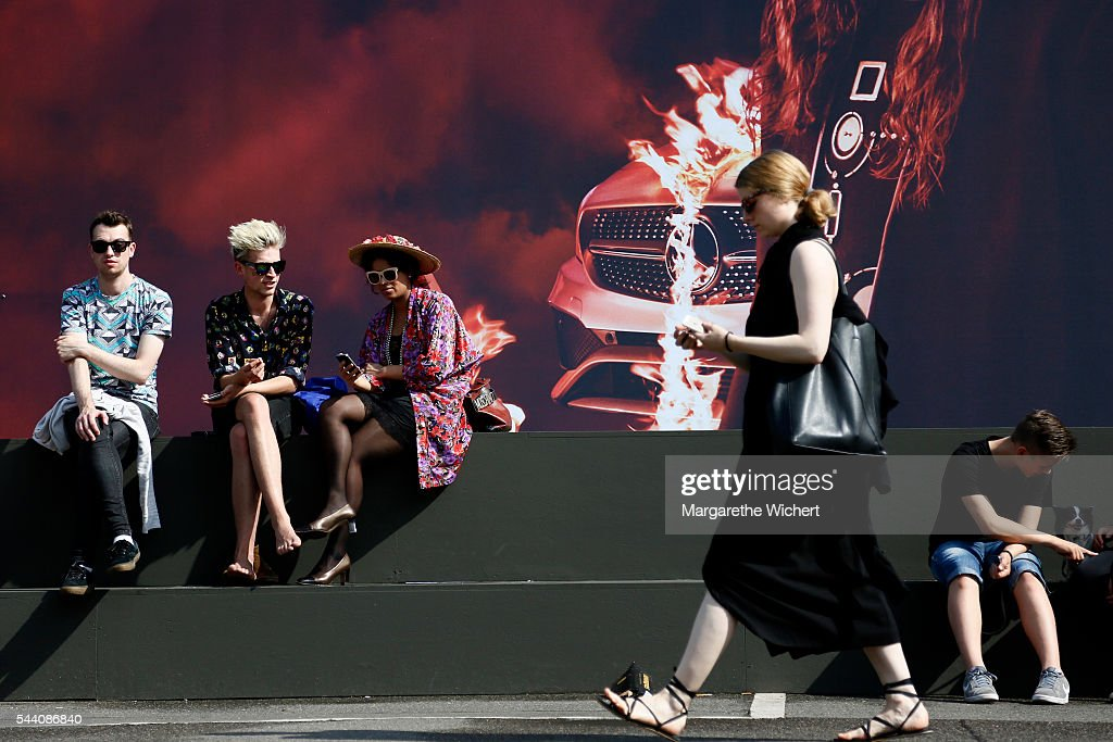 Guests outside the venue during the Mercedes-Benz Fashion Week Berlin Spring/Summer 2017 at Erika Hess Eisstadion on June 28, 2016 in Berlin, Germany.