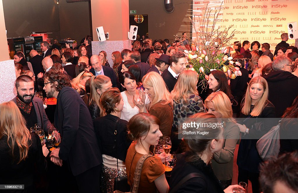 Guests party at the Burda Style Group Cocktail on January 17, 2013 in Berlin, Germany.