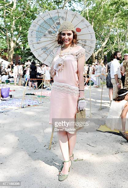 Guests pose during the 10th Annual Jazz Age Lawn Party at Governors Island on June 14 2015 in New York City
