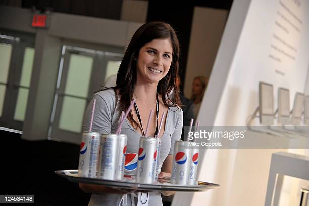 Guests sample Diet Pepsi at the Lincoln Center during Spring 2012 MercedesBenz Fashion Week on September 10 2011 in New York City