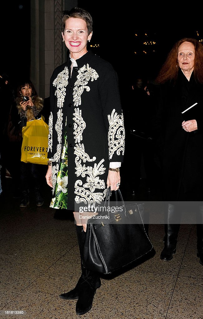 Guests seen arriving to the Oscar de la Renta show on February 12, 2013 in New York City.